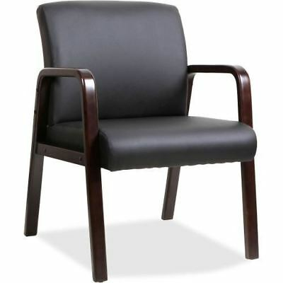 Lorell Black Leather Wood Frame Guest Chair 40201