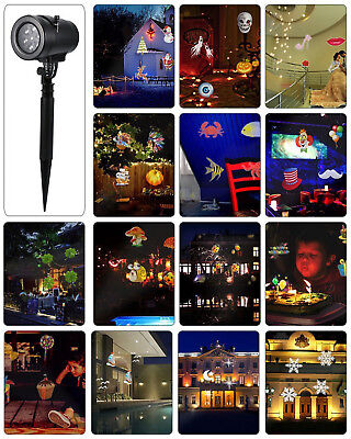 Christmas Snow Santa Snowman LED Lights Projector 14 Festive Patterns WP Lamp