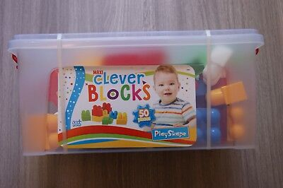 Tub Of 50 Large Food Grade Plastic Building Blocks Bricks  Ages 18 Months+ New