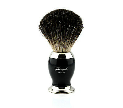 Pure Black Badger Hair Men's Shaving Brush in Black ebony Handle.Comes With Box