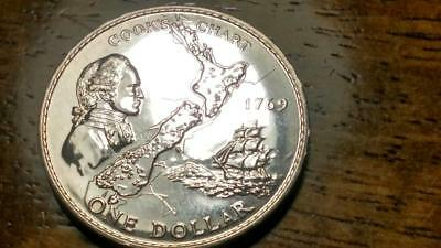 New Zealand 1969 Proof Dollar Crown - Cook Chart - Free  Shipping