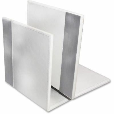 Artistic (2) Architect Line Bookends (Pair), White/Silver Metal ART43008WH