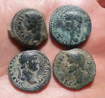 *loracwin* Very Nice Lot Of 4 Roman Coins Of High Empire. 19 Bc - 138 Ad
