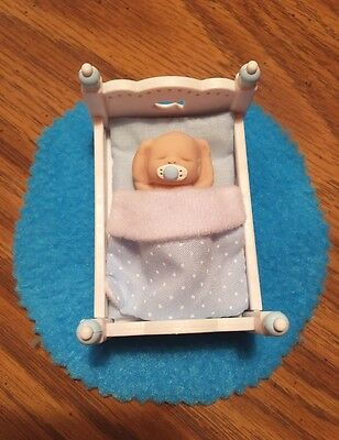 Adorable Tiny Infant Baby Tucked In Bed - OOAK - Dollhouse Size