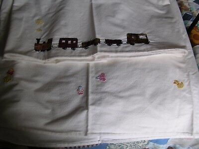 2 Flat Flannelette Cot Sheets, 1 Embroidered 1 Sewn On Patches