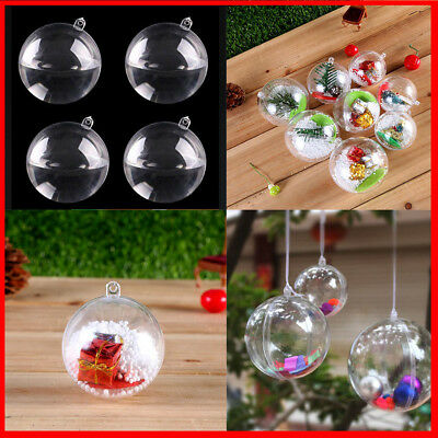 5/10/15/25 Clear Balls Baubles Sphere Fillable Xmas Christmas Tree Ornament Gift