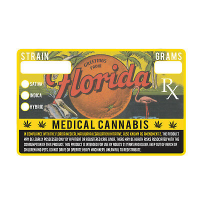 Florida Vintage Style Medical Marijuana Cannabis Compliance Stickers 1.25 x 2""