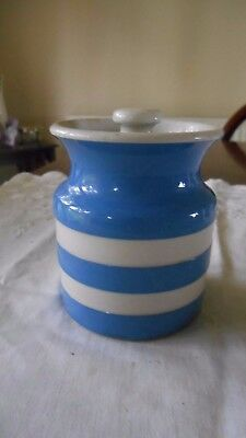 T.g. Green Cornish Ware Jar Damaged Lid