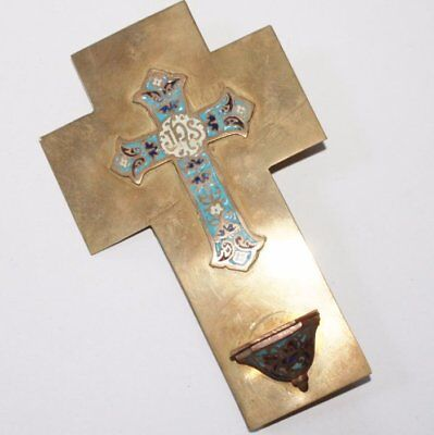 Antique French Enamel Onyx Holy Water Font, Cloisonné