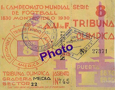 Photo Ticket Billet Finale Coupe du Monde 1930