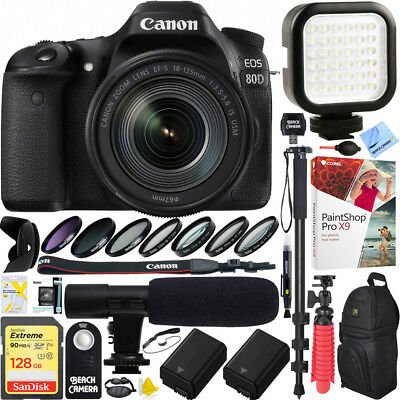 Canon EOS 80D MP CMOS DSLR Camera 18-135mm USM Lens 128GB Dual Battery Video Kit