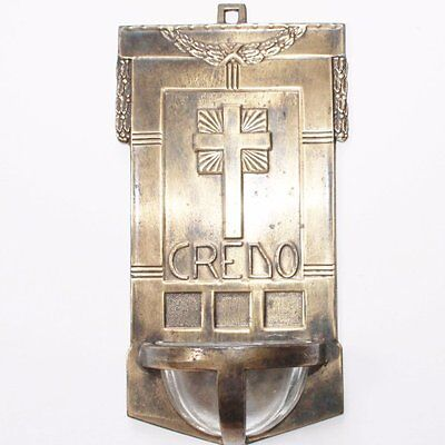 Great Antique Solid Metal Art Deco Holy Water Font, Credo