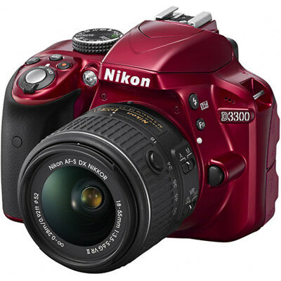 Nikon D3300 24.2MP 1080p Digital SLR Camera w/ 18-55mm VR II Lens (Red) Refurbis