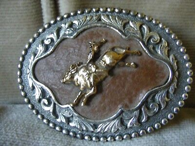 Silver Plated Pewter and Leather Bull Rider Belt Buckle
