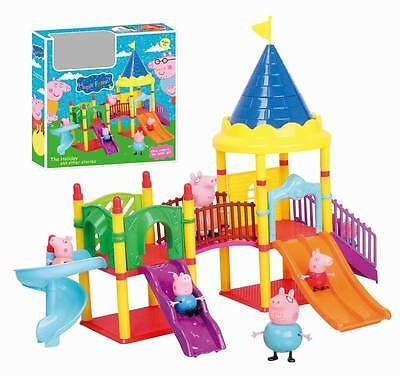 new Peppa Pig Playground Children's Slide Play Set With Figures Kids Toys Gifts