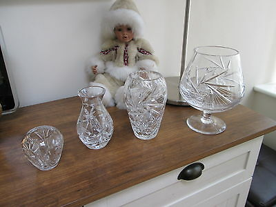 Crystal Vases Cut Glass Exquisite Matching Set Four Pieces Very Heavy Weight