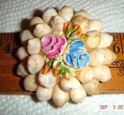 Vtg Victorian Art Deco Style Layered Sea Shell Floral Flower Brooch Necklace Lot