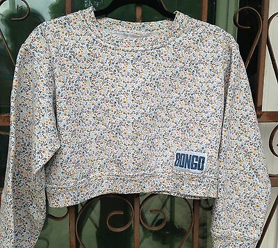 Vintage Bongo Crop Top Floral Sweater Logo Size Small 90s Retro