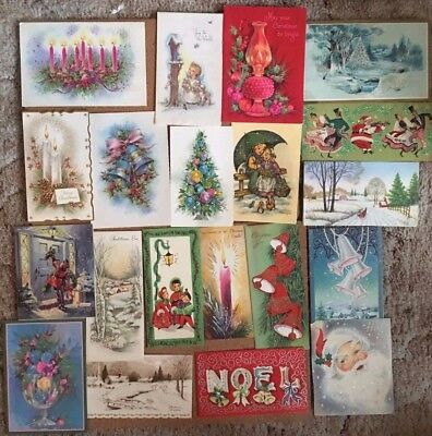Vintage All Glittered Lot Of 20 Various Used Christmas Cards