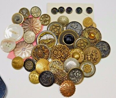 ANTIQUE VICTORIAN  Button Lot PAIRS, Set Brass MOP Carnival Glass More