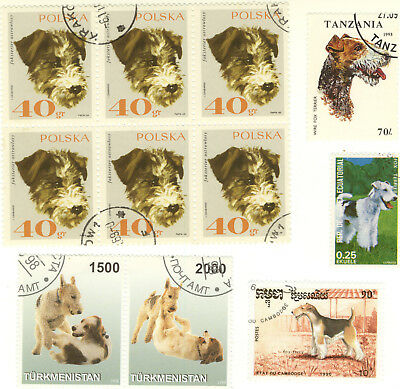 FOX TERRIER ** International Dog Postage Stamp Collection ** Unique Gift*