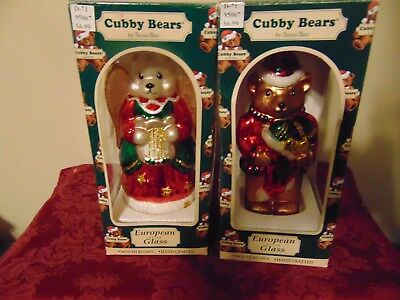 Cubby Bears European style glass mouth blown tree ornament 2 pcs