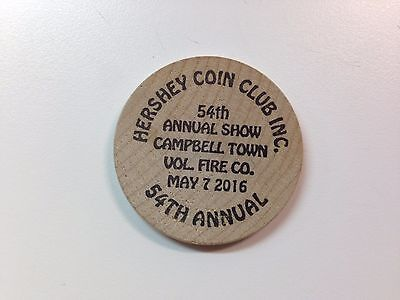 Wooden Nickel- Hershey Coin Club- Hershey, PA- 54th Annual Show- May 7, 2016
