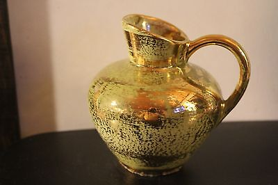 Stangl Pottery Hand Painted Pitcher Green Gold