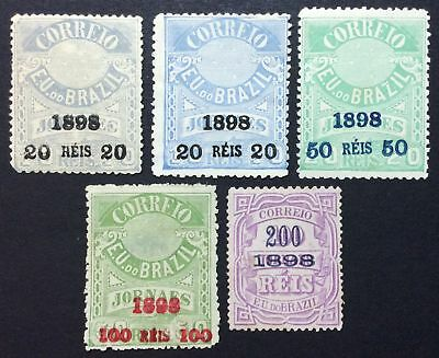 Brazil 1891-1899 regular issue, group of stamps, Mi #125, 126, 128a, 129a, MH