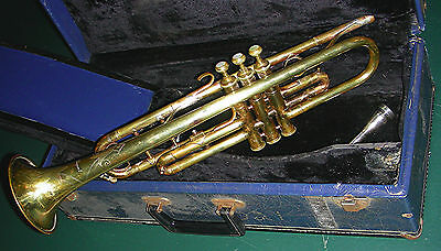 Trumpet by M. Dupont = engraved brass with mouthpiece & case / student ready