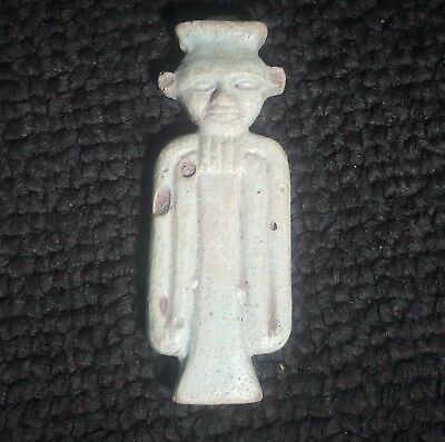 RARE ANCIENT EGYPTIAN  Faience  AMULET OF PATAIKOS. 600 - 300 B.C
