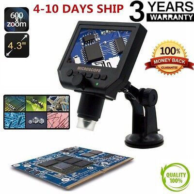"Digital Microscope 4.3"" HD LED 3.6MP 1-600X Magnifier G600 Portable LCD 1080POP"