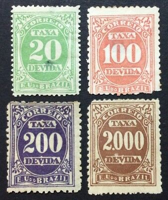 Brazil 1895 revenue stamps, 4 stamps, from set Mi #18-24, MH, NG