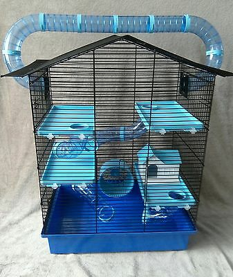 Large Cage for Hamster, Mouse or Gerbil with accessories - blue