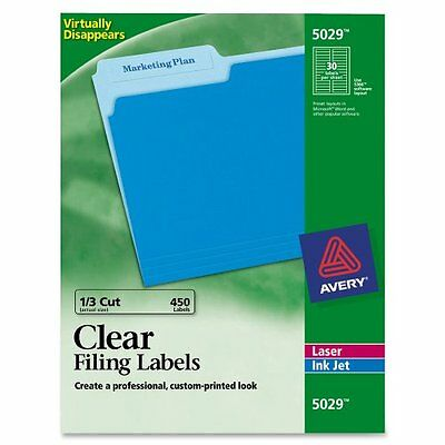 Avery 5029 Clear Self-Adhesive Filing Labels, 3-7/16 X 2/3, 15 Sheets 450 Labels