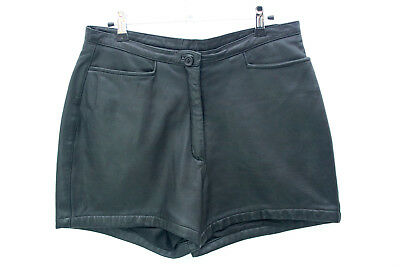 LEATHER Vintage Black Shorts Size 14