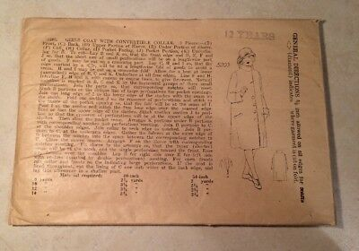 Antique Very Early Unbranded Girls Coat Pattern 5203