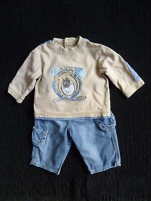 Baby clothes BOY 3-6m outfit denim jeans/bear L/S coffee top 2nd item post-free!