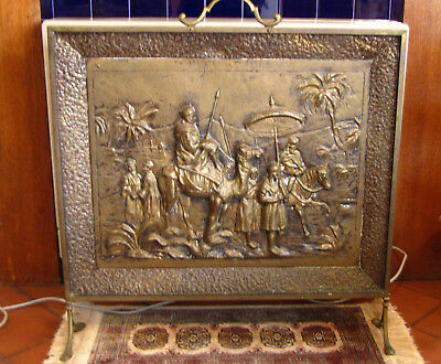Brass Fire Screen with Camel Scene Vintage Piece