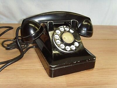 Western Electric Bell Systems F-1 Vintage Black Telephone Heavy Metal Base L@@k