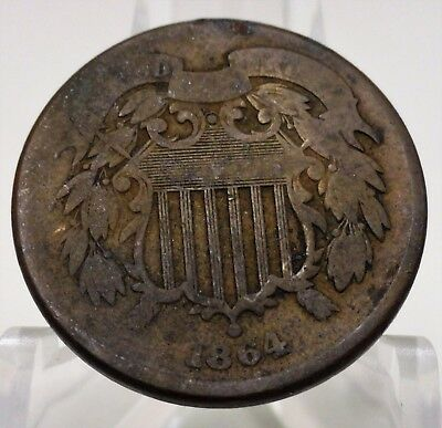 1864 United States large motto two cent, #65567A