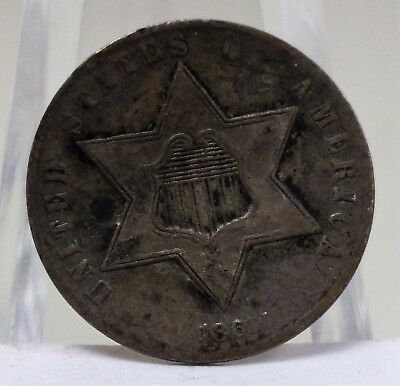 1861 United States three cent silver coin, #65567