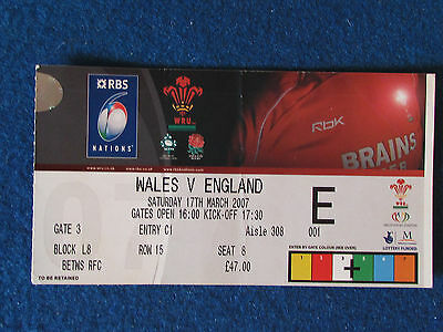 Rugby International Ticket - Wales v England - 17/3/07