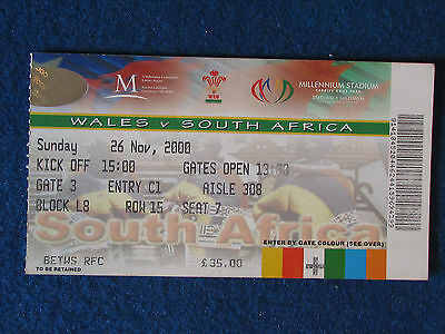 Rugby International Ticket - Wales v South Africa - 26/11/2000