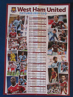 West Ham United Fixture List 2014/15 A3 Poster - Double Sided
