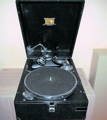 Nice vintage portable 1920's HMV Gramophone, with chrome fittings. Working.