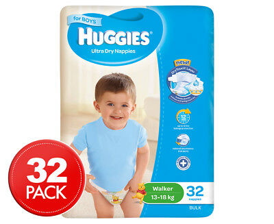 Huggies Ultra Dry Walker Nappies Boys 13-18kg 32pk