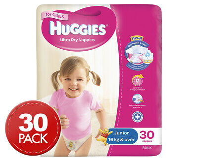 Huggies Ultra Dry Junior Nappies Girls 16kg+ 30pk