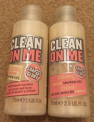 SOAP AND GLORY Clean On Me 2 x 75ml Shower Gel