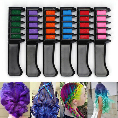 Dye DIY Temporary Disposable Color Hair Comb Chalk Tool Kit Pack of 6